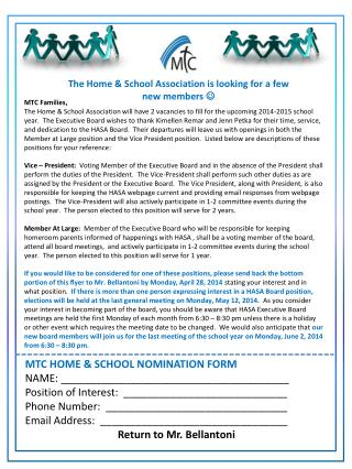 The Home & School Association is looking for a few new members  