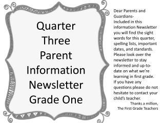 Dear Parents and Guardians-