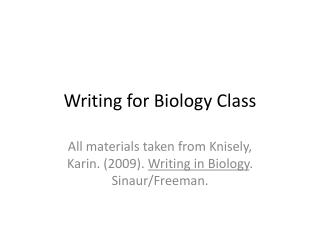 Writing for Biology Class