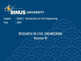 RESEARCH IN CIVIL ENGINEERING Session 10