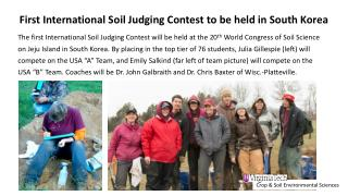 First  International Soil Judging Contest  to be held in South Korea