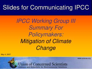 IPCC Working Group III Summary For Policymakers: Mitigation of Climate Change