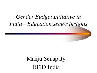 Gender Budget Initiative in India—Education sector insights