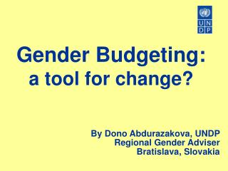 Gender Budgeting: a tool for change