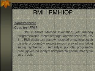 RMI I RMI-IIOP