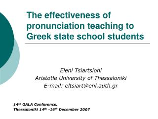 The effectiveness of pronunciation teaching to Greek state school students