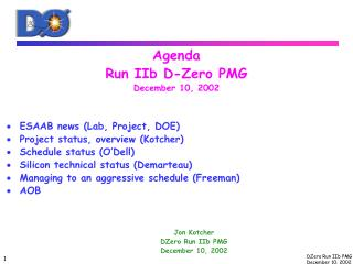 Agenda Run IIb D-Zero PMG December 10, 2002 ESAAB news (Lab, Project, DOE)