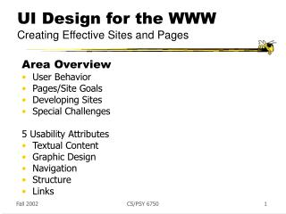 UI Design for the WWW Creating Effective Sites and Pages