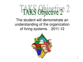 The student will demonstrate an understanding of the organization of living systems.   2011-12