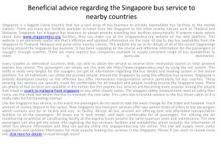 Get some advice about Singapore bus facilities