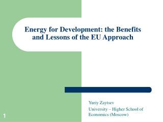 Energy for Development: the Benefits and Lessons of the EU Approach