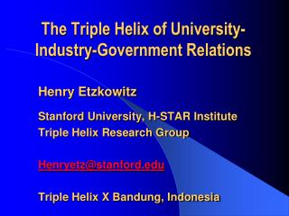 Innovation in Innovation : The Triple Helix of University-Industry-Government Relations
