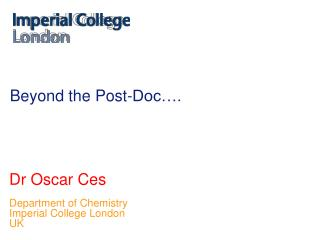 Beyond the Post-Doc….