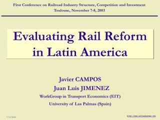 Evaluating Rail Reform in Latin America
