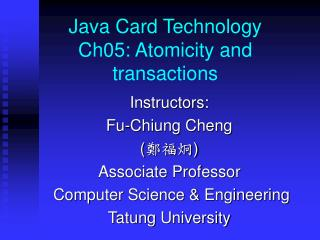 Java Card Technology Ch05:  Atomicity and transactions