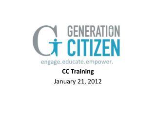 CC Training January 21, 2012