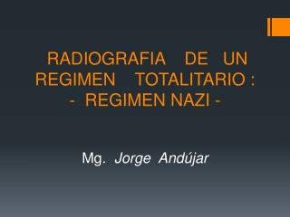 RADIOGRAFIA    DE   UN REGIMEN    TOTALITARIO : -  REGIMEN NAZI -