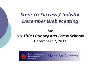 Steps to Success / Indistar December Web Meeting