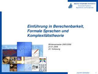 Einführung in Berechenbarkeit, Formale Sprachen und Komplexitätstheorie