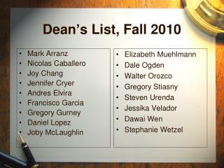 Dean's List, Fall 2010