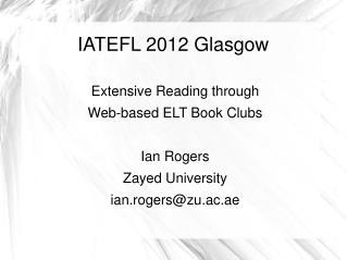 IATEFL 2012 Glasgow