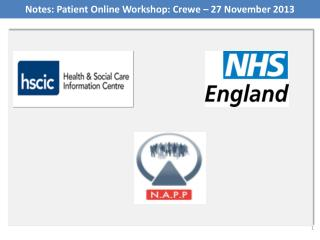 Notes: Patient Online Workshop: Crewe – 27 November 2013