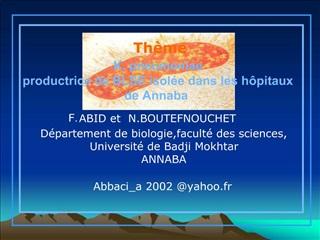 K. pneumoniae  productrice de BLSE isol e dans les h pitaux  de Annaba