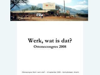 Werk, wat is dat? Ottonecongres 2008
