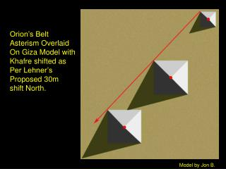Orion's Belt Asterism Overlaid On Giza Model with Khafre shifted as Per Lehner's Proposed 30m