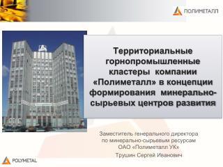 Заместитель генерального директора по минерально-сырьевым ресурсам  ОАО «Полиметалл УК»