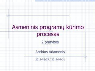 Asmeninis programų kūrimo procesas