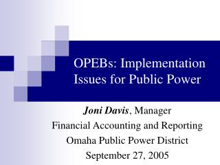OPEBs: Implementation Issues for Public Power