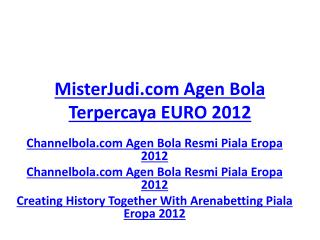 MisterJudi.com Agen Bola Terpercaya EURO 2012 Channelbola