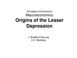 Principles of Economics Macroeconomics Origins of the Lesser Depression