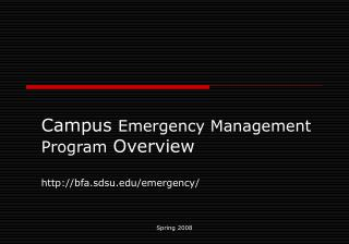 Campus Emergency Management Program Overview  bfa.sdsu