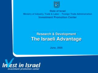 Research & Development The Israeli Advantage