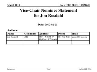 Vice-Chair Nominee Statement for Jon Rosdahl