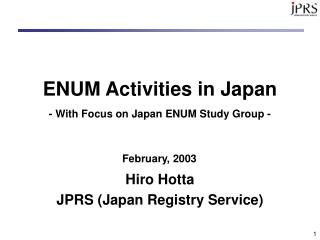 ENUM Activities in Japan