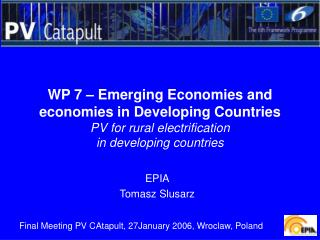 WP 7 – Emerging Economies and economies in Developing Countries