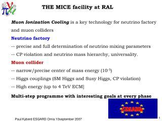 THE MICE facility at RAL