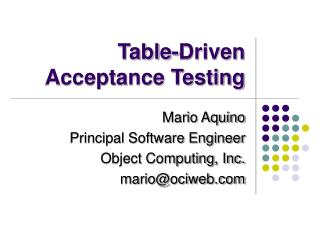 Table-Driven Acceptance Testing