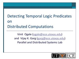 Detecting Temporal Logic Predicates on Distributed Computations