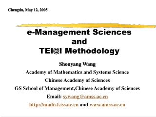 e-Management Sciences  and  TEI@I Methodology