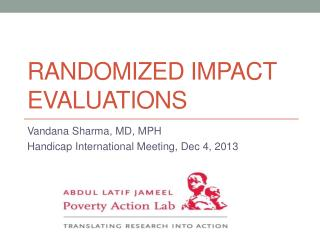 Randomized Impact evaluations
