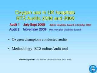 Oxygen use in UK hospitals        BTS Audits 2008 and 2009  Audit 1    July-Sept 2008    Before Guideline Launch in Octo
