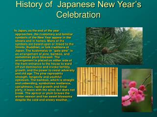 History of  Japanese New Year's Celebration