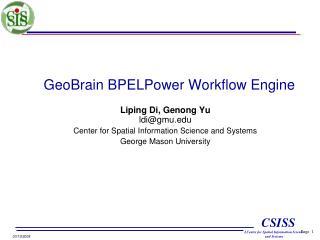 GeoBrain BPELPower Workflow Engine