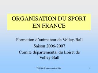 ORGANISATION DU SPORT EN FRANCE