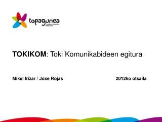 TOKIKOM : Toki Komunikabideen egitura Mikel Irizar / Joxe Rojas      2012ko otsaila