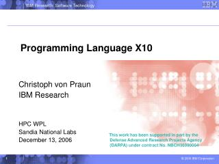 Programming Language X10